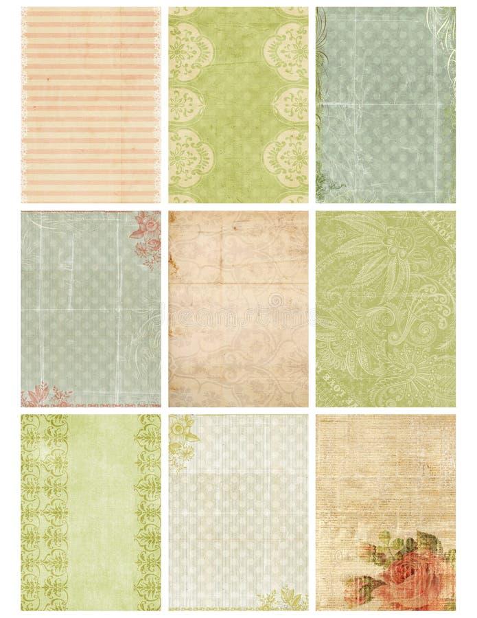 Weinlese-Blumendamast-Collagen-Blatt stock abbildung