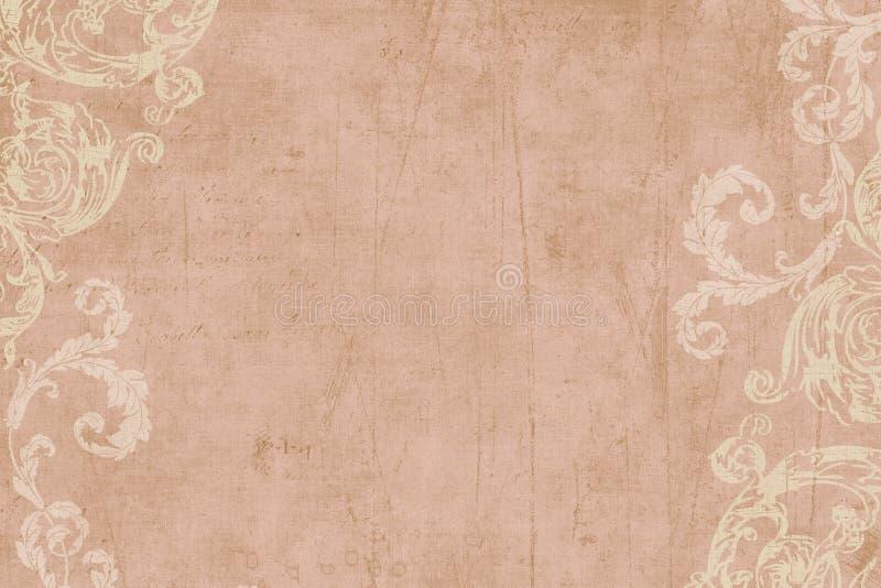 Weinlese-Blumeneinklebebuch-Hintergrund lizenzfreie stockfotografie