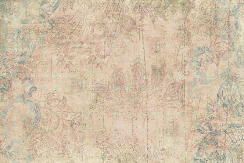 Weinlese-Blumeneinklebebuch-Hintergrund stockfotos