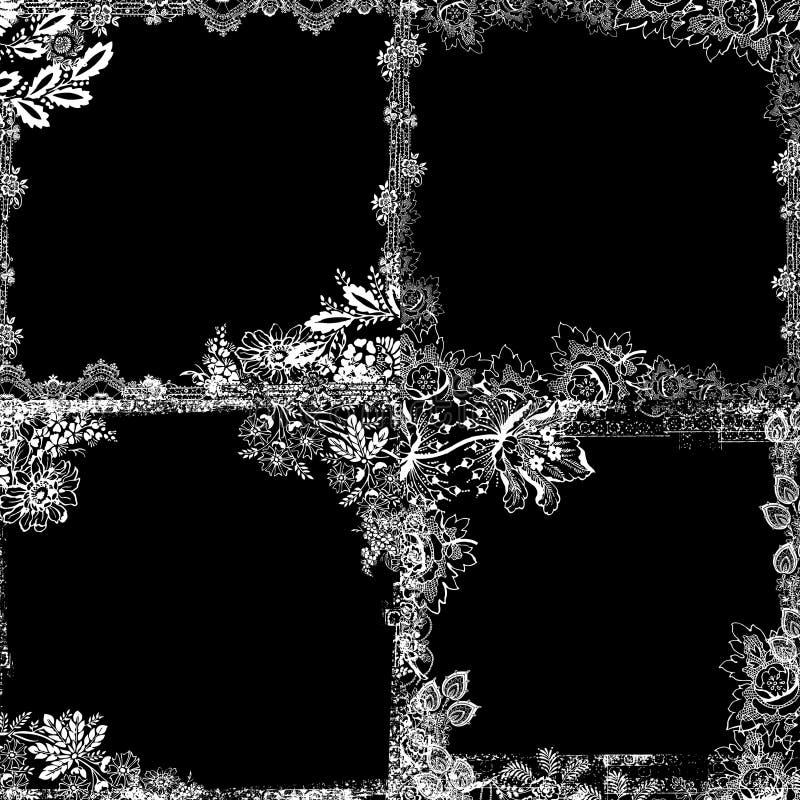 Weinlese-Blumeneinklebebuch-Hintergrund lizenzfreie stockfotos