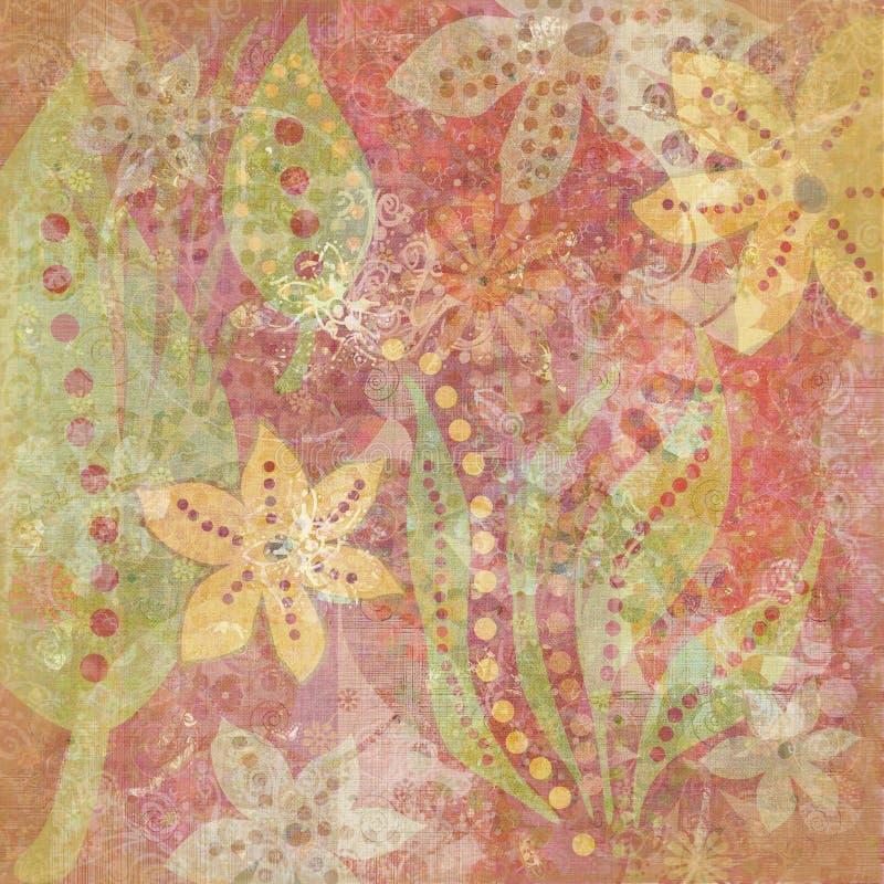 Weinlese BlumenGrunge böhmischer Tapisserie-Einklebebuch-Hintergrund vektor abbildung
