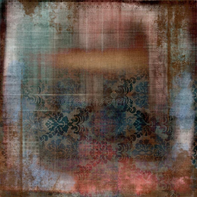 Weinlese BlumenGrunge böhmischer Tapisserie-Einklebebuch-Hintergrund stockbild