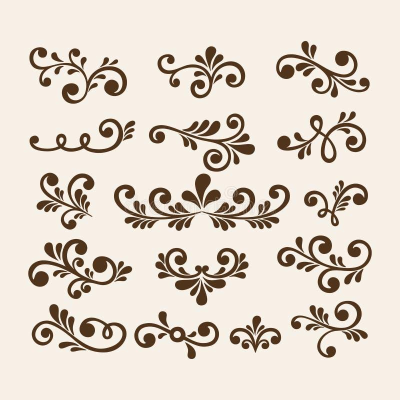 Weinlese-Blumenmusterelemente des Vektorhandabgehobenen betrages Blüht dekorative Elemente Florenelemente für Dekorationssatz lizenzfreie abbildung