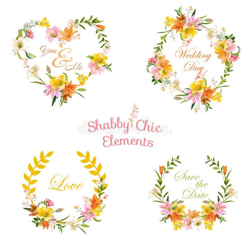 Weinlese-Blumentags, Aufkleber und Fahnen - für T-Shirt, Mode lizenzfreie abbildung