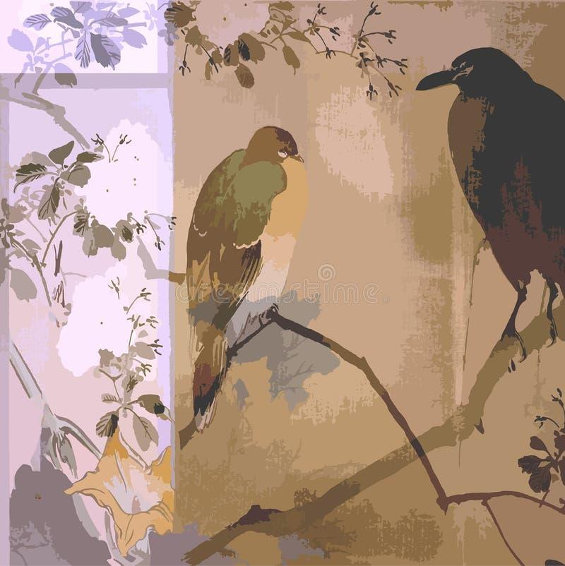Weinlese-Blumenvogel-böhmisches Einklebebuch-Hintergrund-Papier stock abbildung