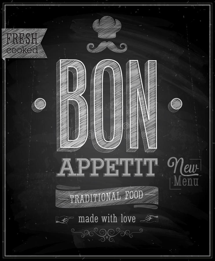 Weinlese Bon Appetit Poster - Tafel. vektor abbildung