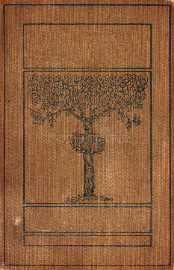 Weinlese bookcover mit Baum lizenzfreie stockfotografie