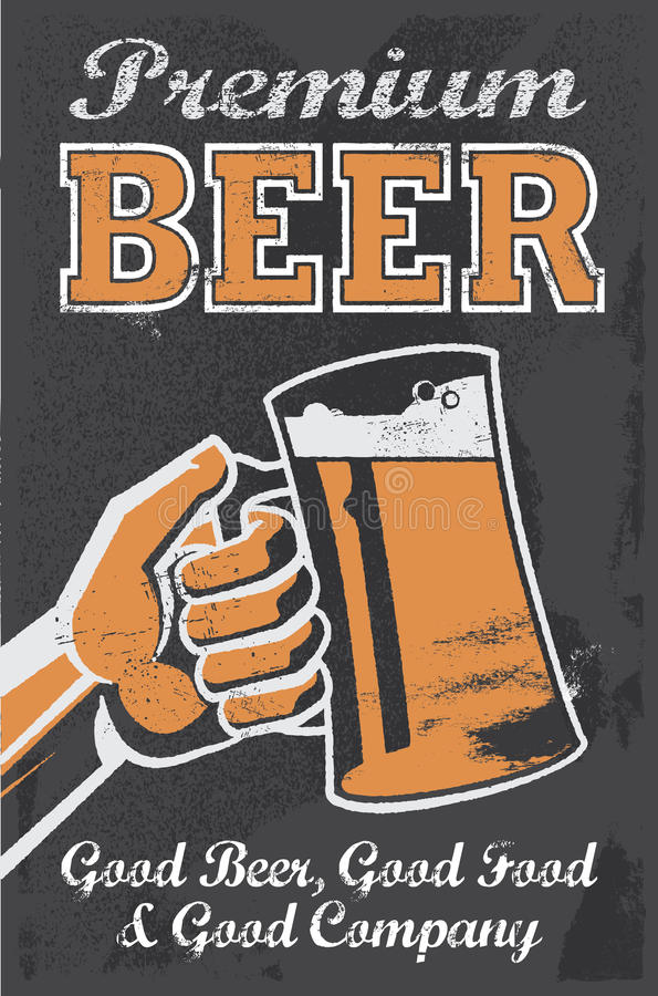 Weinlese-Brauerei-Bier-Plakat - Tafel-Vektor-Illustration vektor abbildung
