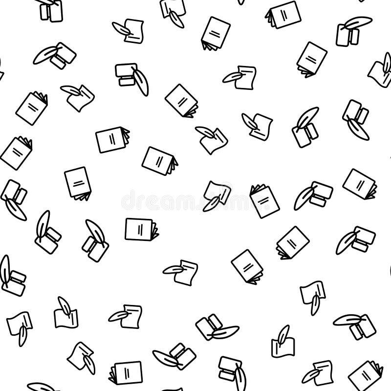 Weinlese-Buch-und Feder-nahtloser Muster-Vektor lizenzfreie abbildung