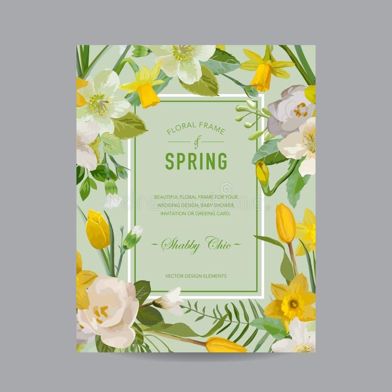 Weinlese-bunter mit Blumenrahmen - für Einladung lizenzfreie stockfotografie