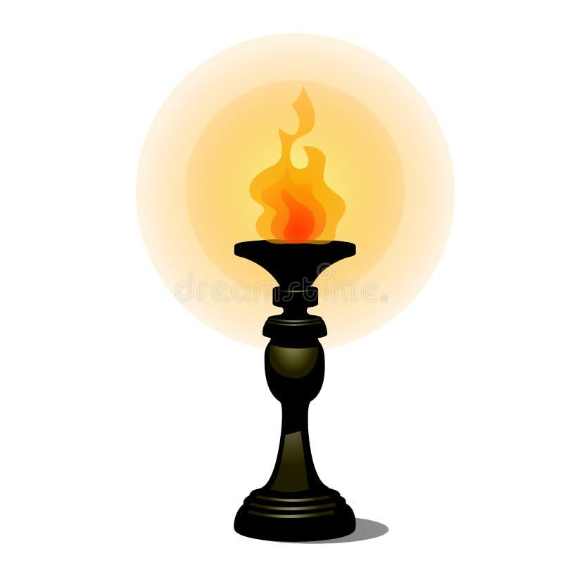 Weinlese Burningfackel auf dem Stand, der den Boden gegenüberstellt Lichtquelle lokalisiert auf einem weißen Hintergrund Auch im  vektor abbildung