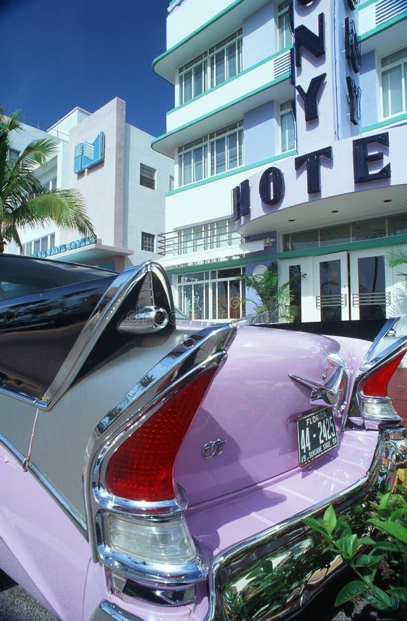 Weinlese Cadilac im Südstrand Miami, Florida stockfotografie