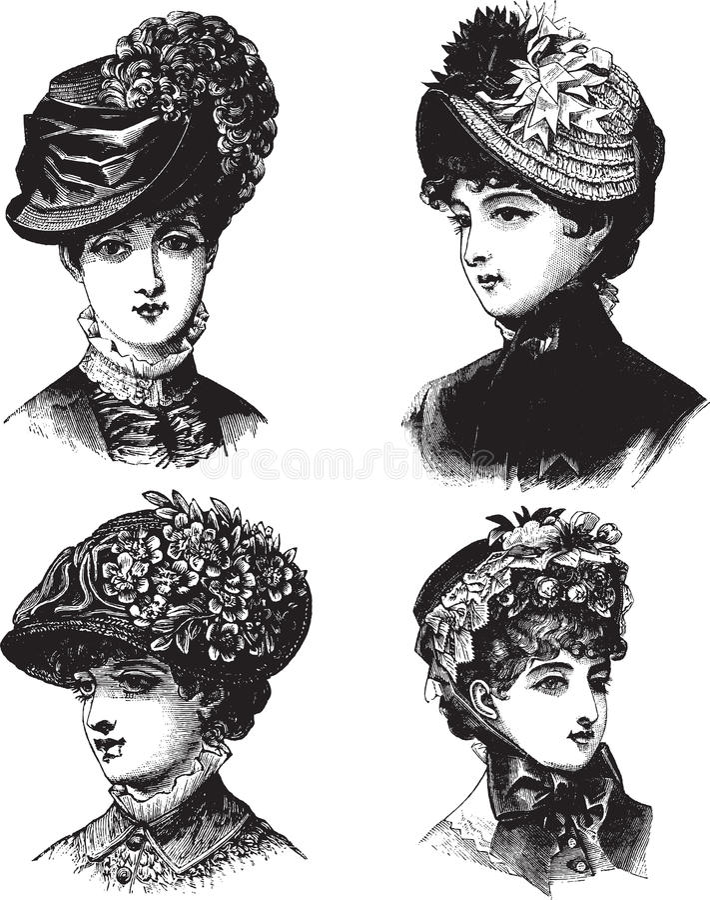 Weinlese-Damen mit Hutvektorillustration vektor abbildung