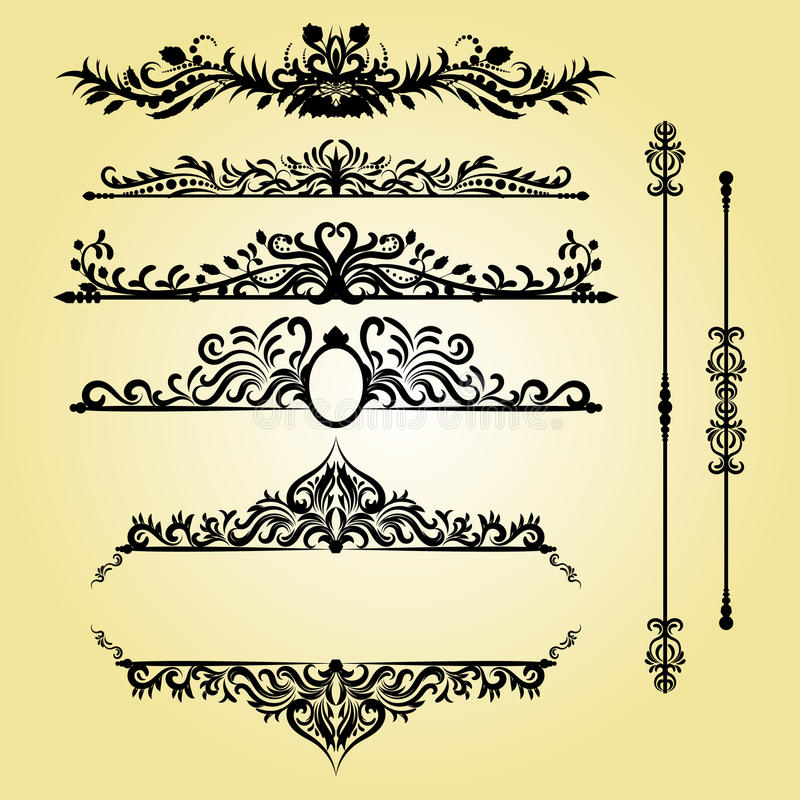 Weinlese-Dekorations-Elemente Flourishes-kalligraphische Verzierungen und Rahmen Retro- Artauslegung lizenzfreie abbildung