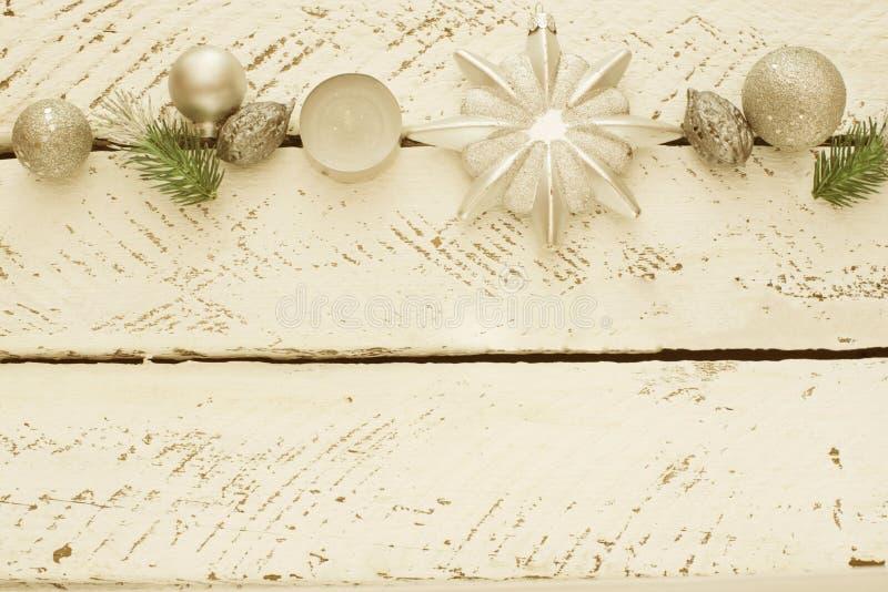Weinlese-dekorative Weihnachtszusammensetzung stockbild