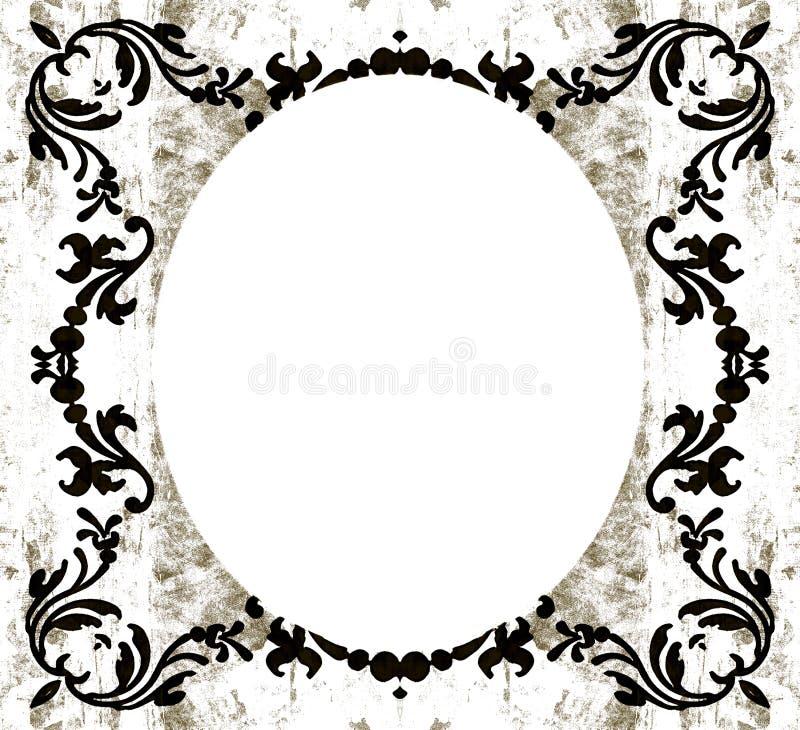 Weinlese dekoratives ovales grunge vektor abbildung