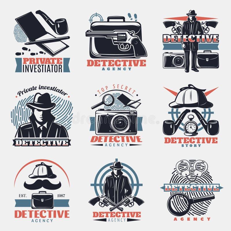 Weinlese-Detektiv Labels Set stock abbildung