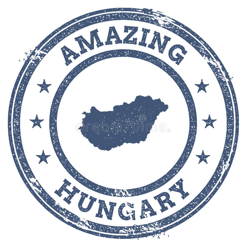 Weinlese, die Ungarn-Reisestempel mit Karte überrascht vektor abbildung