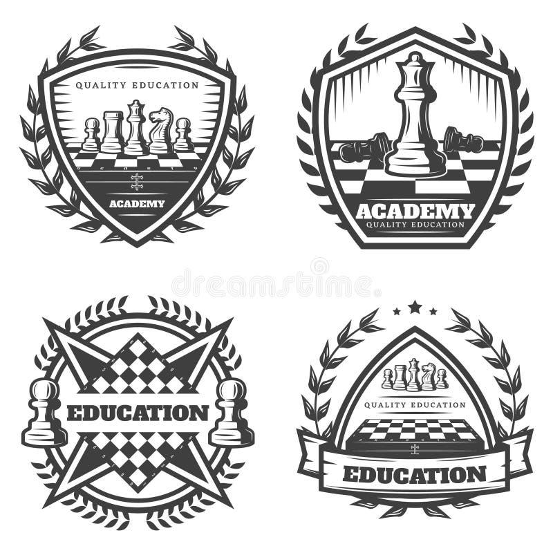 Weinlese-einfarbige Schach-Embleme eingestellt stock abbildung