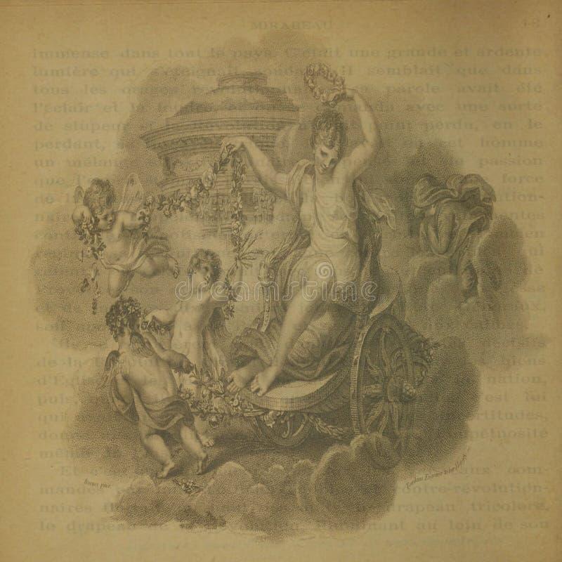 Weinlese-Engels-Hintergrund-Einklebebuch-Papier stockbilder