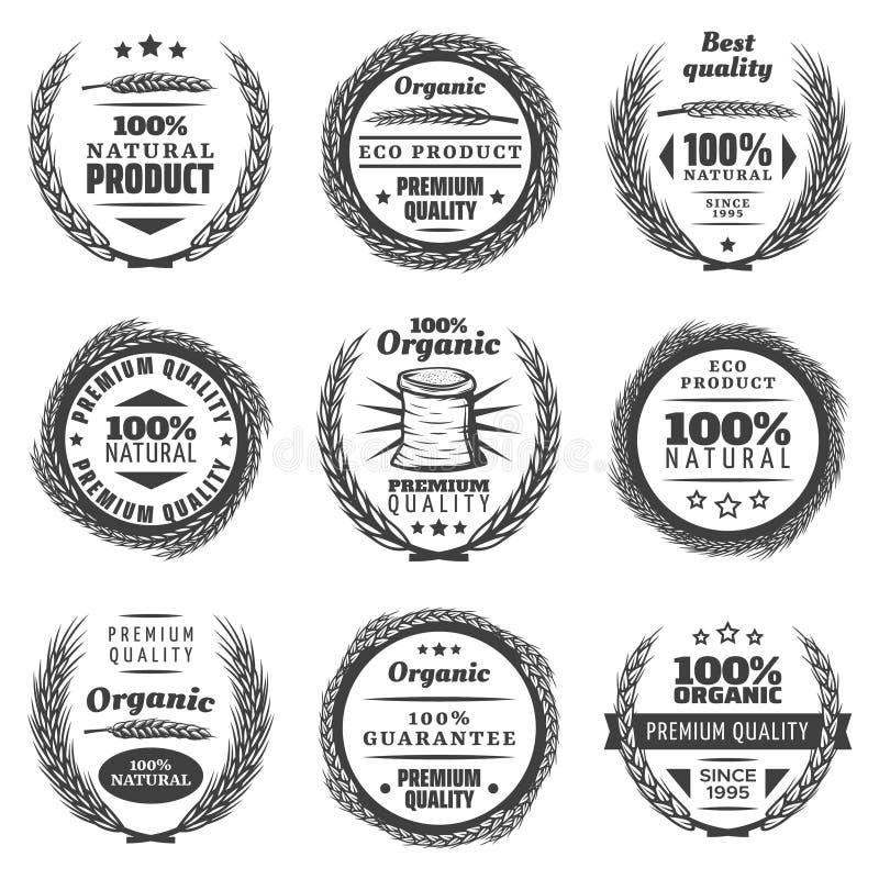 Weinlese-erstklassige Getreideprodukt-Kennsatzfamilie lizenzfreie abbildung