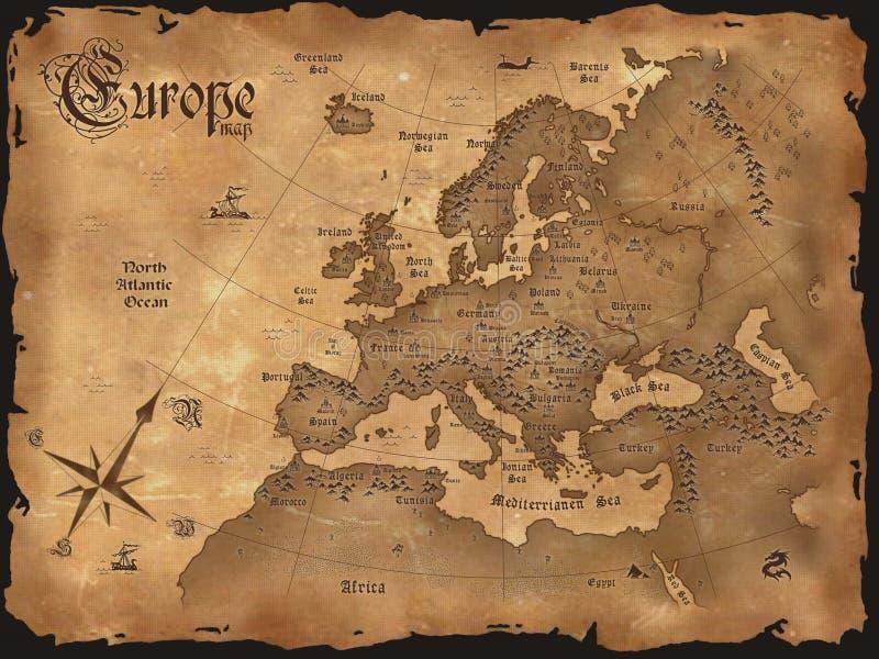 Weinlese-Europa-Karte horizontal vektor abbildung