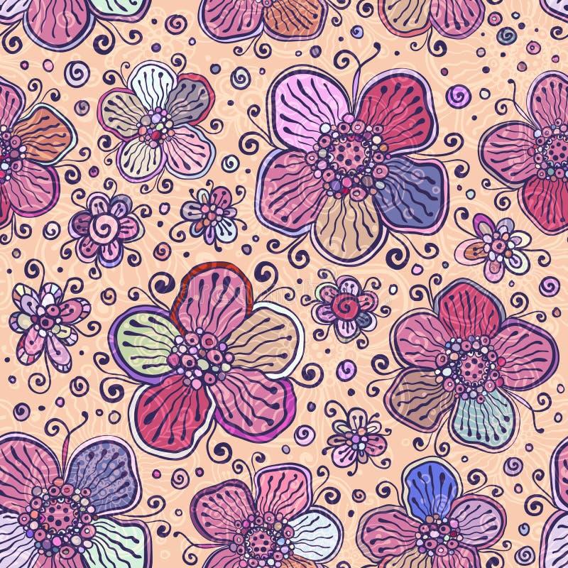 Weinlese färbt nahtloses Muster der Vektorblumen vektor abbildung