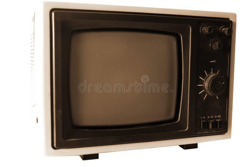 Weinlese Fernsehapparat getrennt auf Weiß lizenzfreie stockfotografie
