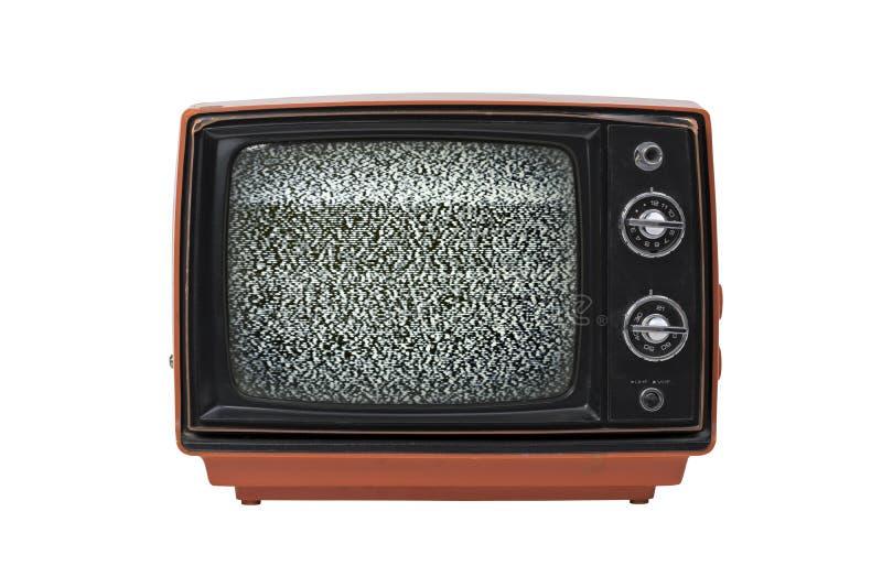 Weinlese Fernsehen mit Static lokalisiert stockbilder