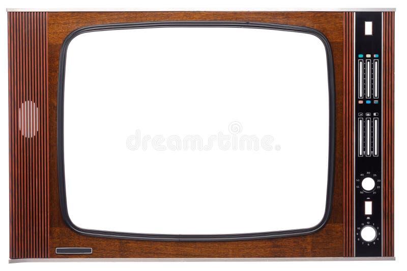 Weinlese-Fernseherfront mit Ausschnittschirm und Kontrollen lokalisiert auf Weiß lizenzfreies stockbild