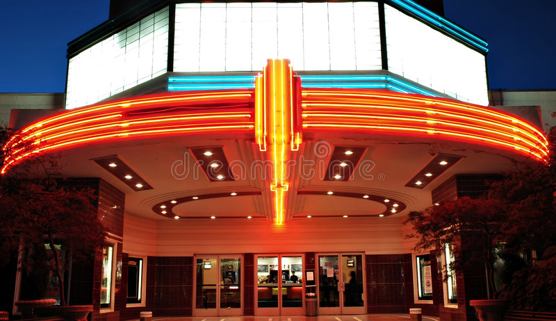 Weinlese-Film-Theater stockfoto