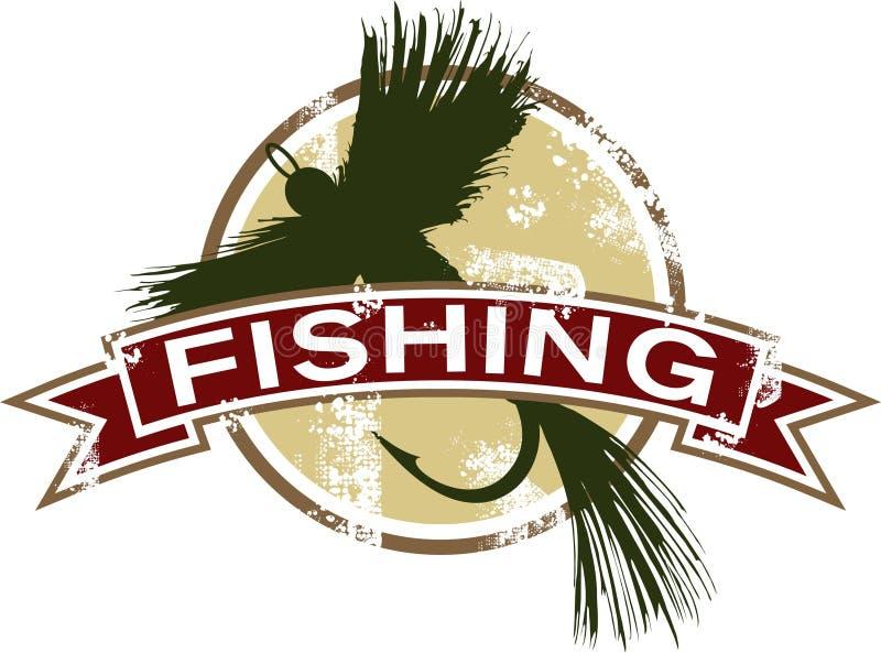 Weinlese-Fischen-Ikone lizenzfreie abbildung