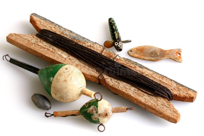 Weinlese-Fischerei-Gerät stockfoto