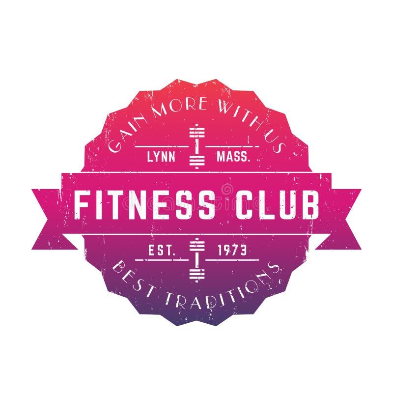 Weinlese-Fitness-Club-Logo, Vektorausweis, Emblem vektor abbildung