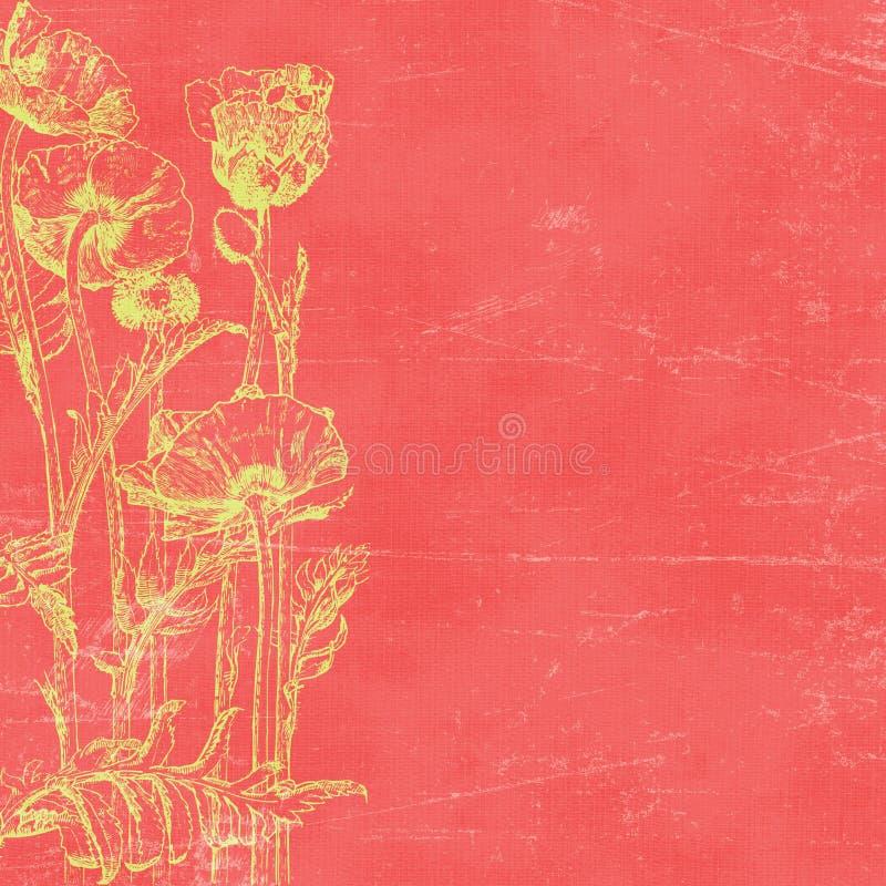 Weinlese Florals botanischer Papierhintergrund lizenzfreie abbildung