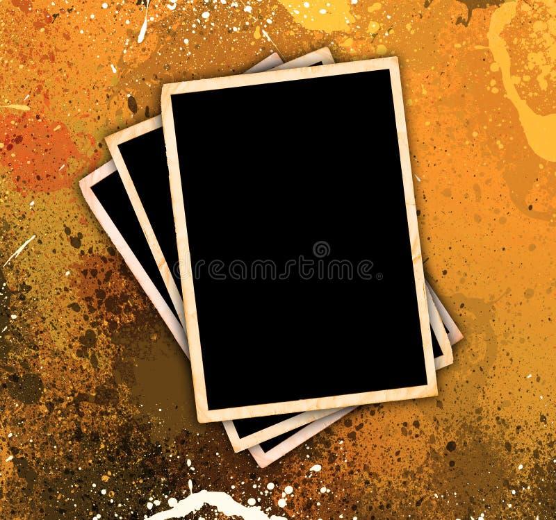 Weinlese-Foto-Felder auf Grunge Art-Hintergrund lizenzfreie abbildung