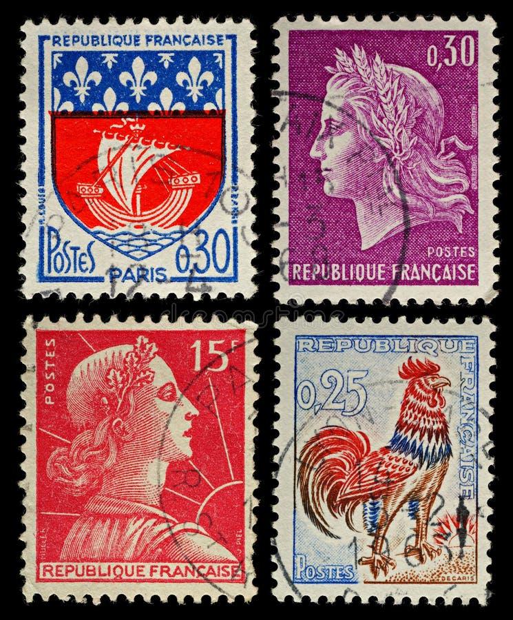 Weinlese-Frankreich-Briefmarken stockfotografie