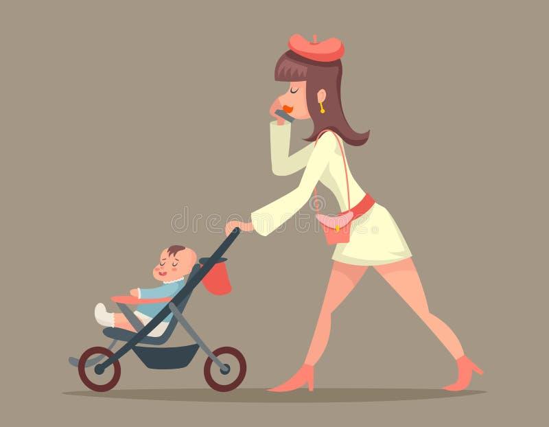 Weinlese-Frauen-Mutter mit Kindercharakter-Ikone auf stilvoller Hintergrund-Retro- Karikatur-Design-Vektor-Illustration stock abbildung