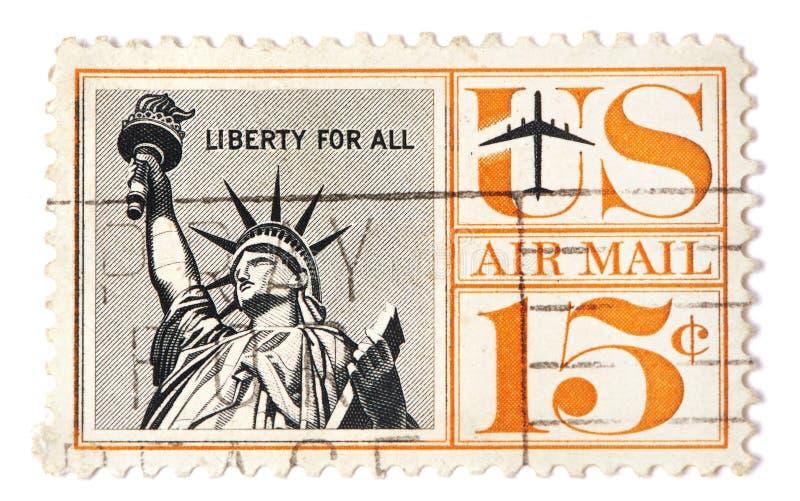 Weinlese-Freiheitsstatue USA-Briefmarke lizenzfreie stockbilder