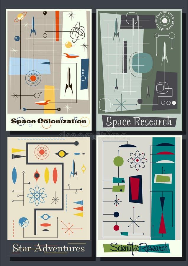 Weinlese-futuristischer Raum-Poster von den fünfziger Jahren lizenzfreie abbildung