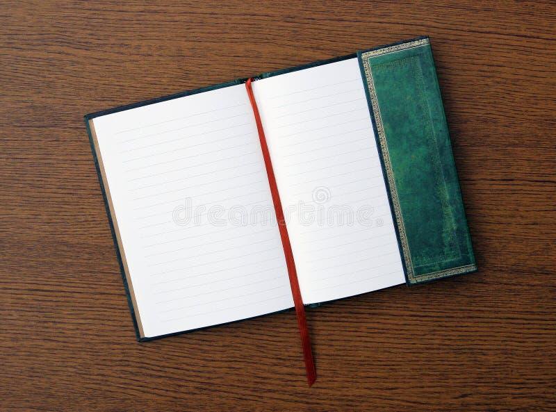 Weinlese geöffnetes grünes ledernes Journal-Tagebuch lizenzfreies stockfoto