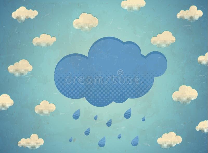 Weinlese gealterte Karte mit regnerischen Wolken lizenzfreie abbildung
