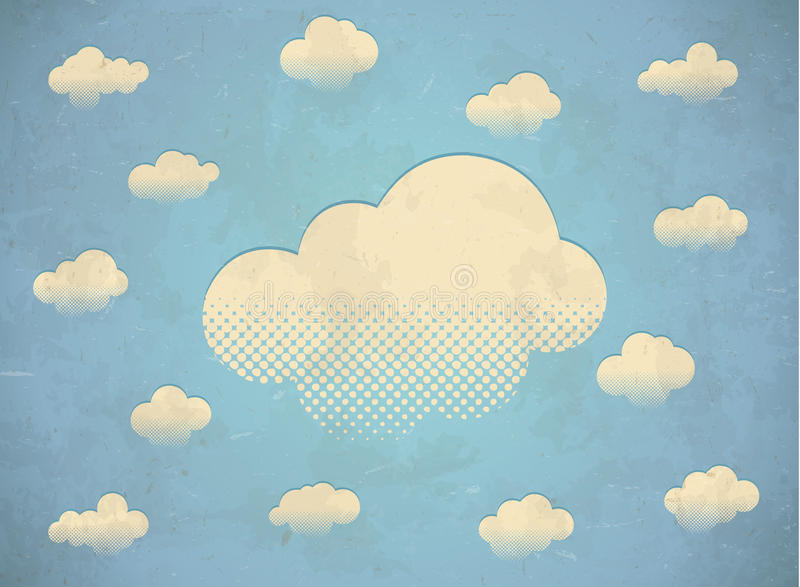 Weinlese gealterte Karte mit Wolken vektor abbildung