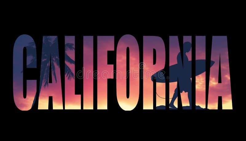 Weinlese gefilterte Kalifornien-Postkarte stock abbildung
