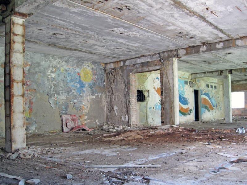 Weinlese gemalter Innenaufbau, altes Gebäude, stockfotografie