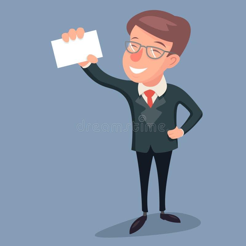 Weinlese-Geschäftsmann-Character Hand Presentations-Demonstrations-Bestellschein-Gruß-Bankwesen-Ikone auf stilvollem Hintergrund lizenzfreie abbildung