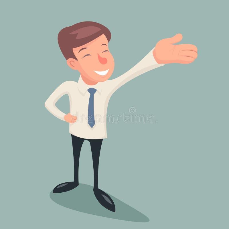 Weinlese-Geschäftsmann-Character Hand Presentations-Demonstrations-Bezeichnungs-Ikone auf stilvoller Hintergrund-Retro- Karikatur stock abbildung