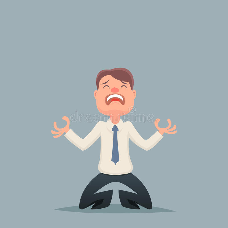 Weinlese-Geschäftsmann-Despair Suffer Grief-Charakter lizenzfreie abbildung