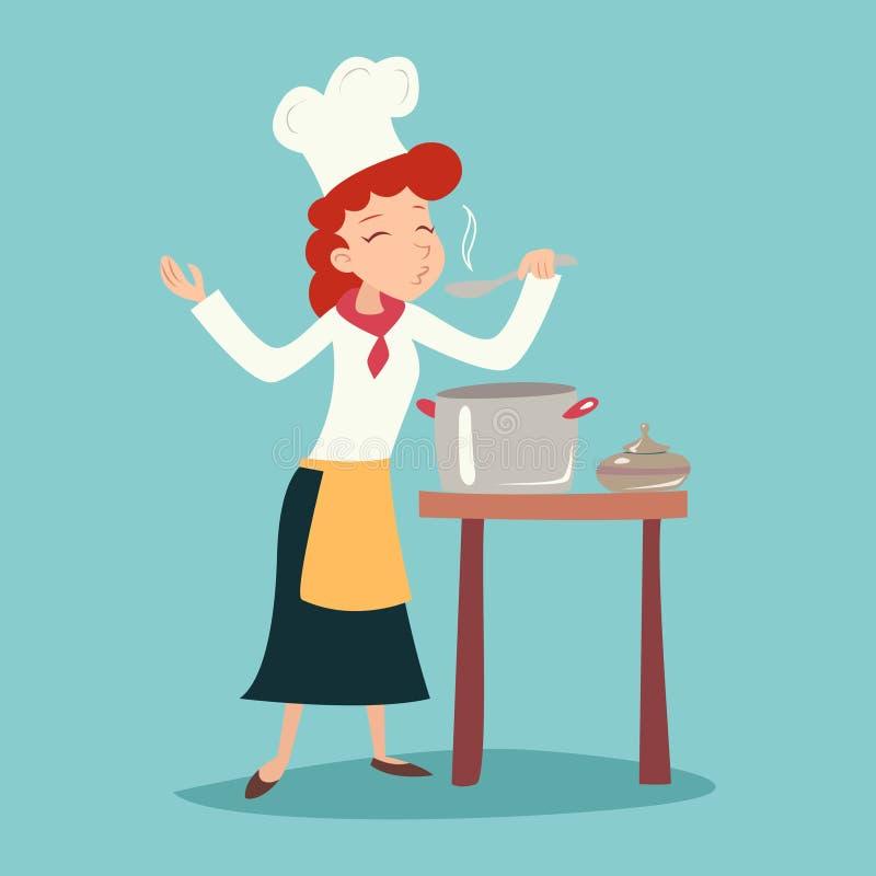 Weinlese-glücklicher lächelnder Hauptkoch Girl Tasting Dish lizenzfreie abbildung