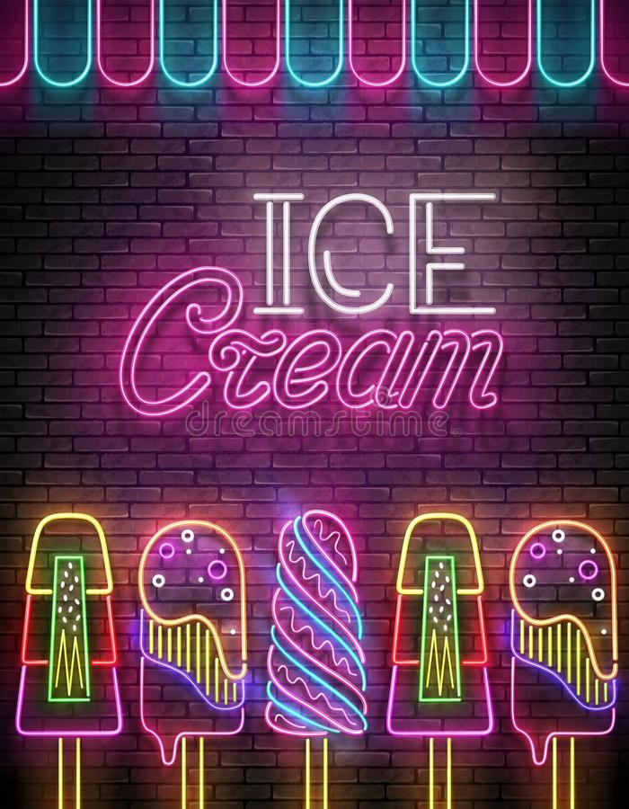 Weinlese-Glühen-Plakat mit Eiscreme-Lutschbonbon und Aufschrift Neon L vektor abbildung